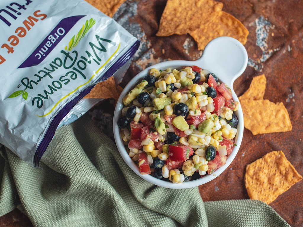 Spicy blueberry, corn and avocado salsa with sweet potato tortilla chips | Local Food Rocks