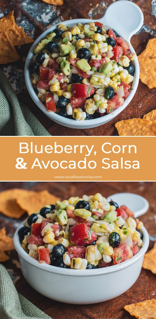 Packed with fresh blueberries, corn, avocado, tomato, jalapeno, cilantro, and lime, it's all about a little sweet with a little heat. It's easy to make, ready in about 10 minutes, and tastes great even without tortilla chips. | Local Food Rocks