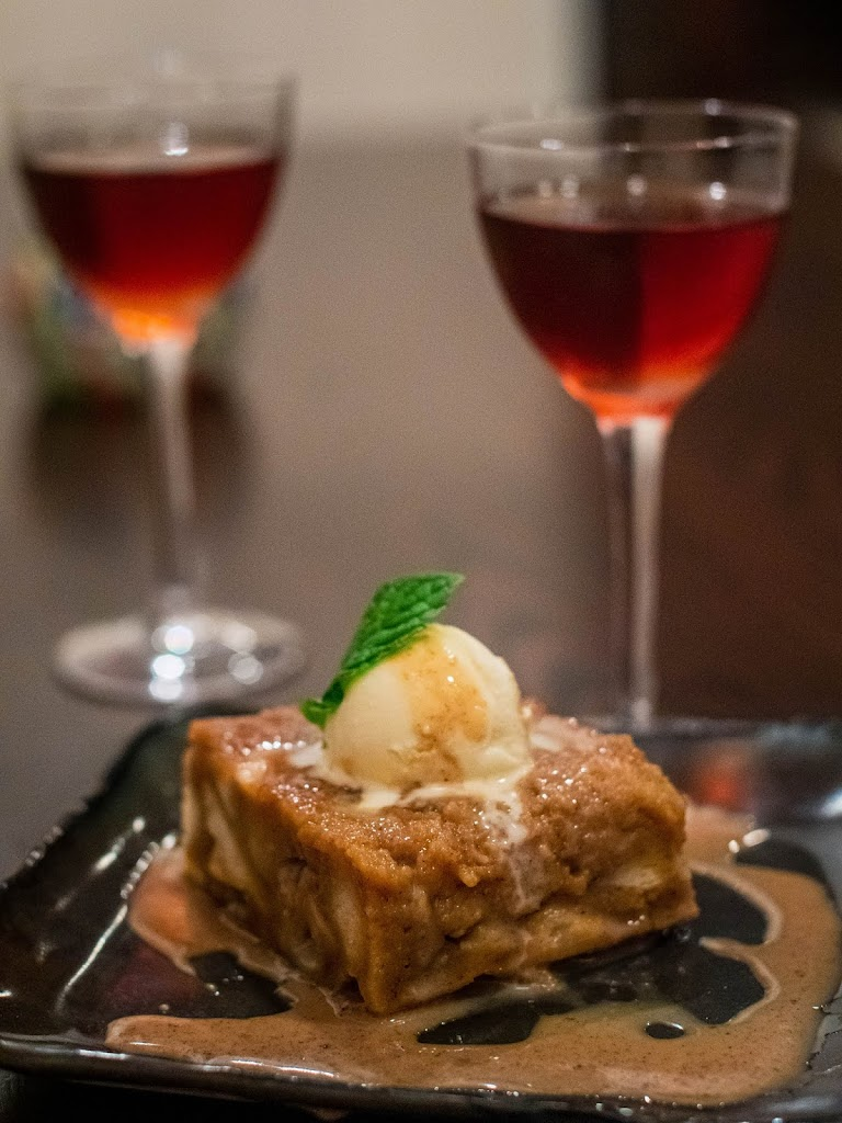 Amaro after dinner drinks and pumpkin bread pudding at Mezon | Local Food Rocks