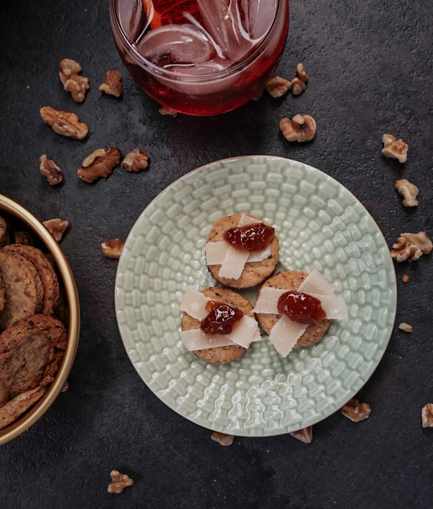Rosemary Walnut Crackers topped with Parmesan and fig jam   Local Food Rocks