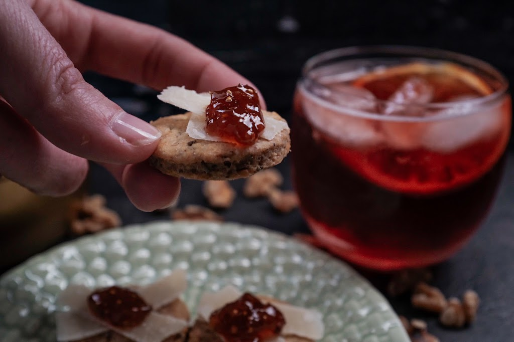 Rosemary Walnut Crackers with Parmesan and fig jam is a perfect snack   Local Food Rocks