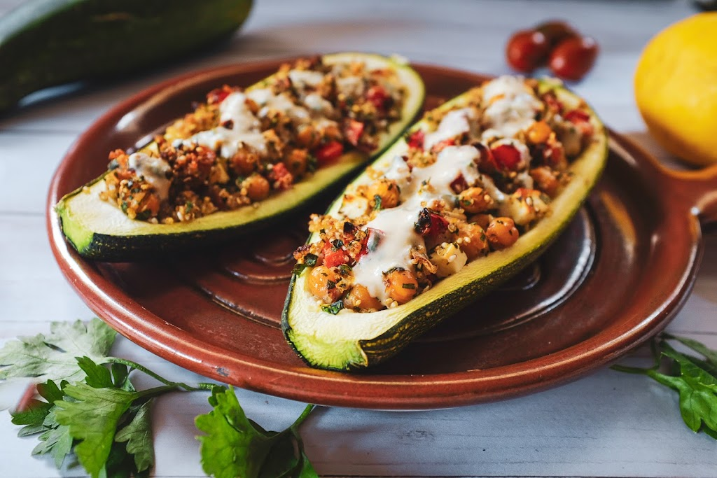 Zucchini stuffed with middle eastern inspired ingredients