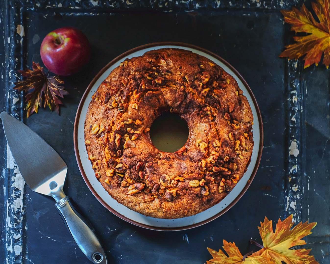 Maple Apple cake with serving utensil