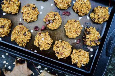 Healthy Pumpkin Trail Mix Cookies on Baking Sheet