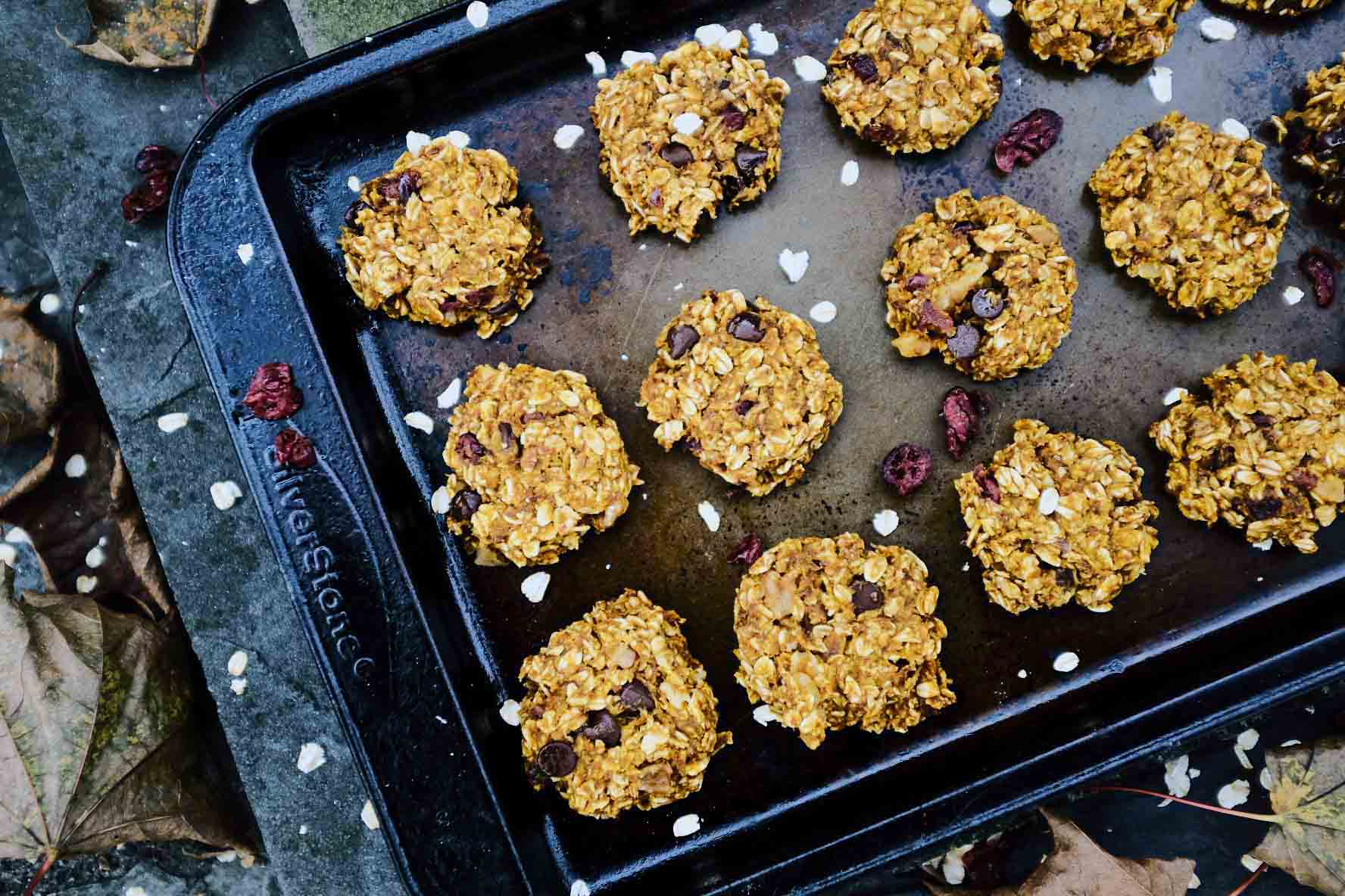 Healthy Pumpkin Trail Mix Cookies on a cookie sheet